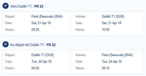 Billet Paris Dublin - En moins de deux